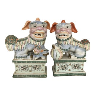 Vintage Chinoiserie Multicolored Pastel Foo Dogs-A Pair
