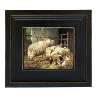Sheep and Chickens Framed Oil Painting Reproduction Print on Canvas For Sale