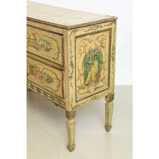 italian Neoclassic Painted an Parcel Gilt Two-Drawer Commode, Piedmontese For Sale - Image 4 of 7