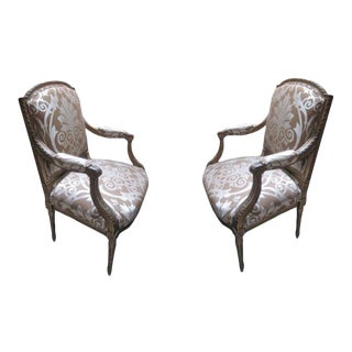 19th Century Italian Parcel Arm Chairs- A Pair For Sale