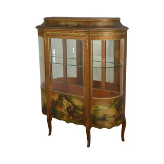 Vernis Martin Antique Hand Painted Bow Glass Vitrine Curio Display Cabinet For Sale