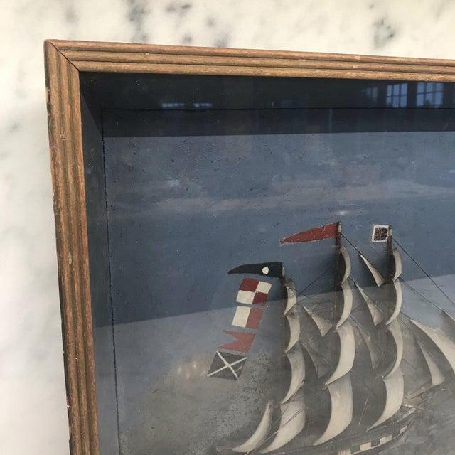 Wood Folk Art Shadowbox Ship Diorama of a Three Masted Schooner For Sale - Image 7 of 10