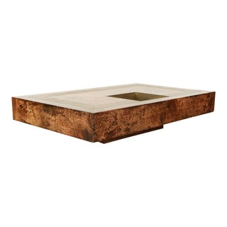 Aldo Tura Goat Skin Coffee Table For Sale