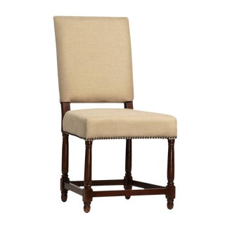 Dark Wood & Linen Dining Chair For Sale