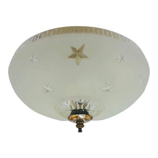 Vintage Star Detail Glass & Brass Flush Mount For Sale