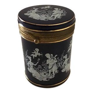 """Vintage Italian Florentine Cobalt Blue Lidded Porcelain Jar - 5"""" For Sale"""