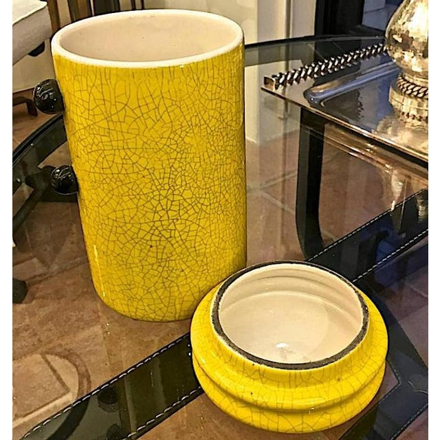 Contemporary Pol Chambost Signed Rare Yellow and Black Ceramic Pot For Sale - Image 3 of 5