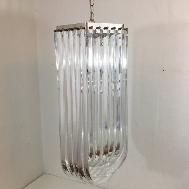 Lucite Ribbon Chandelier For Sale - Image 10 of 10