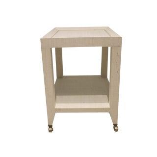 Contemporary Grasscloth Tea Table For Sale