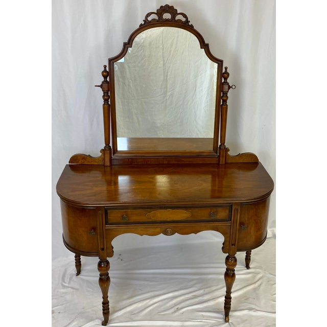 Antique Walnut English Art Deco Vanity With Mirror For Sale - Image 12 of 13