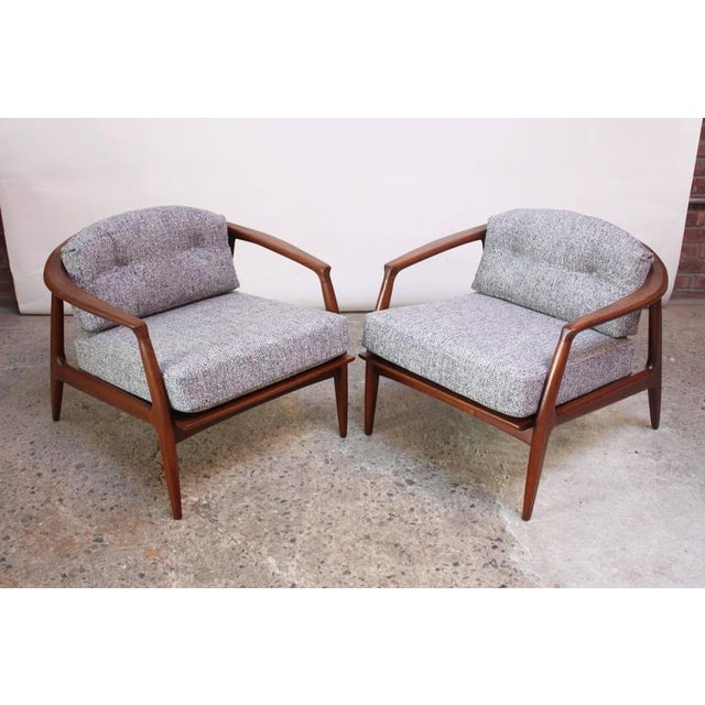 Pair of Staved Walnut Lounge Chairs by Milo Baughman - Image 2 of 11