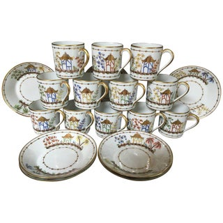French 'Cirque Chinois' Demi Tasse Cups - Set of 12 For Sale