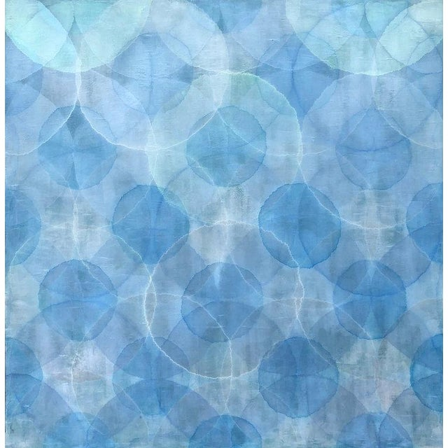 """Blue 2018 """"Nacre"""" Painting by Roger Mudre For Sale - Image 8 of 8"""