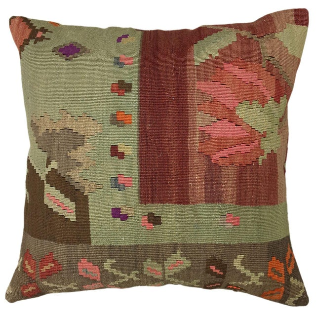 """Mid-Century Modern Vintage Kilim Pillow 