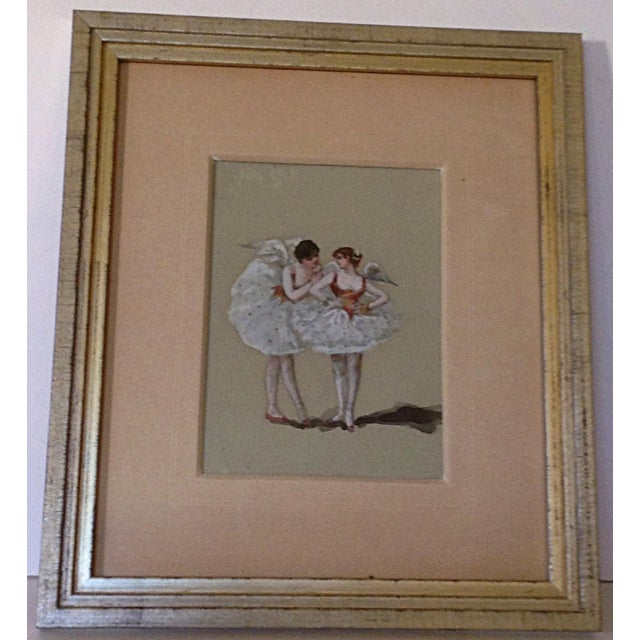 Watercolor of two angels in ballet dress sharing secrets. Piece is custom framed with French matting.