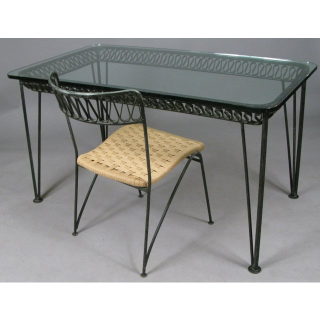 Mid-Century Modern 1950s Vintage Tempestini Wrought Iron Desk and Chair For Sale - Image 3 of 8