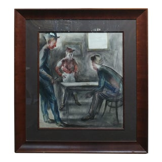 "Carl Hugo Beetz ""Before the Race"" Original Painting, Regionalist, 1939 For Sale"