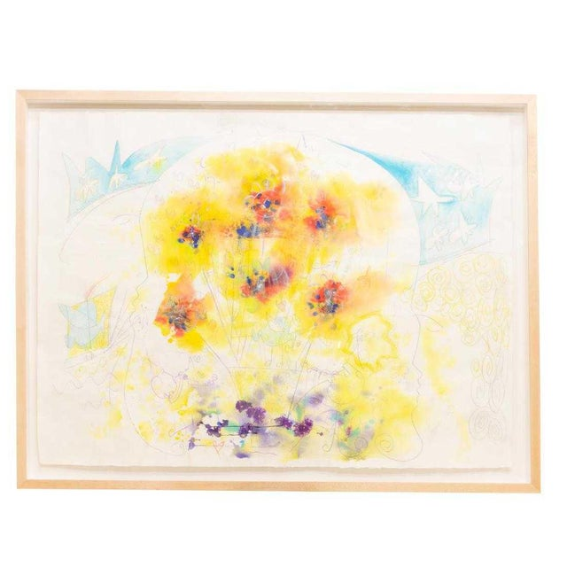 1990s Large Framed Abstract Watercolor Painting For Sale - Image 5 of 5