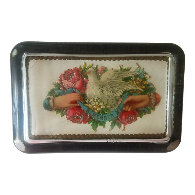 Antique Victorian Card Decoupaged Paper Weight For Sale