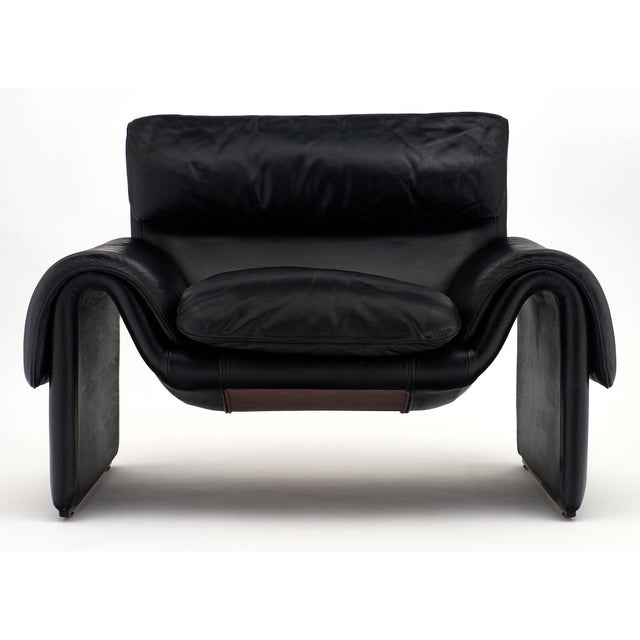 Animal Skin Vintage De Sede Black Leather Armchair For Sale - Image 7 of 11