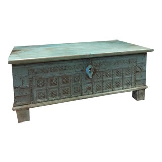 Vintage Blue Distressed Coffee Table Trunk For Sale