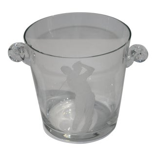 Mid-Century 1950s Glass Ice Bucket With Etched Golfer Motif For Sale