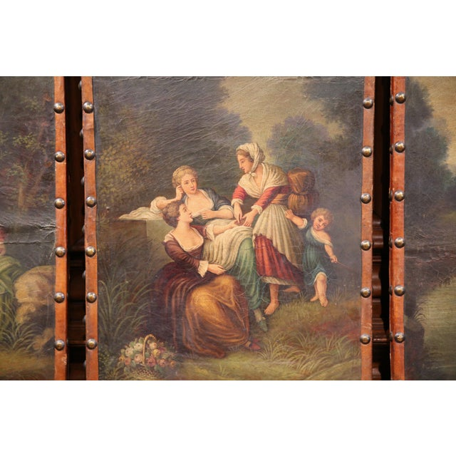 Blue 18th Century, French Hand-Painted Leather Four-Panel Screen from Lyon For Sale - Image 8 of 11