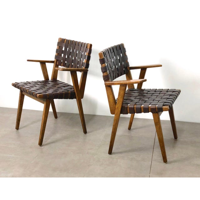 Brown Pair of Mid-Century Modern Leather Webbed Chairs For Sale - Image 8 of 10