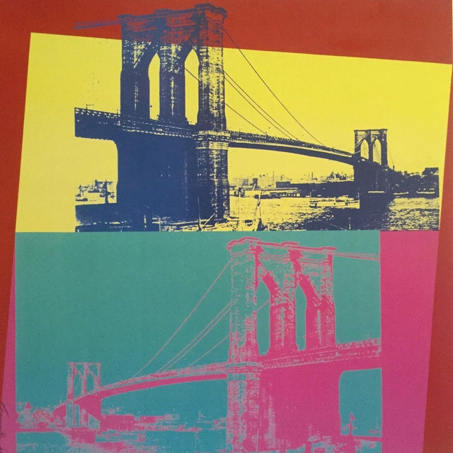 """2000 - 2009 Andy Warhol Foundation Vintage Pop Art Lithograph Poster """" Brooklyn Bridge """" 1983 For Sale - Image 5 of 9"""