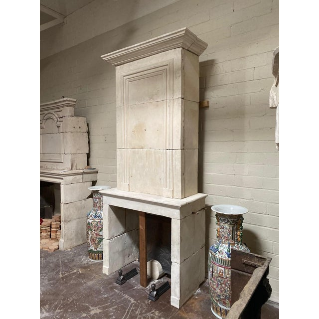 19th Century Limestone Mantel with Trumeau For Sale - Image 4 of 9