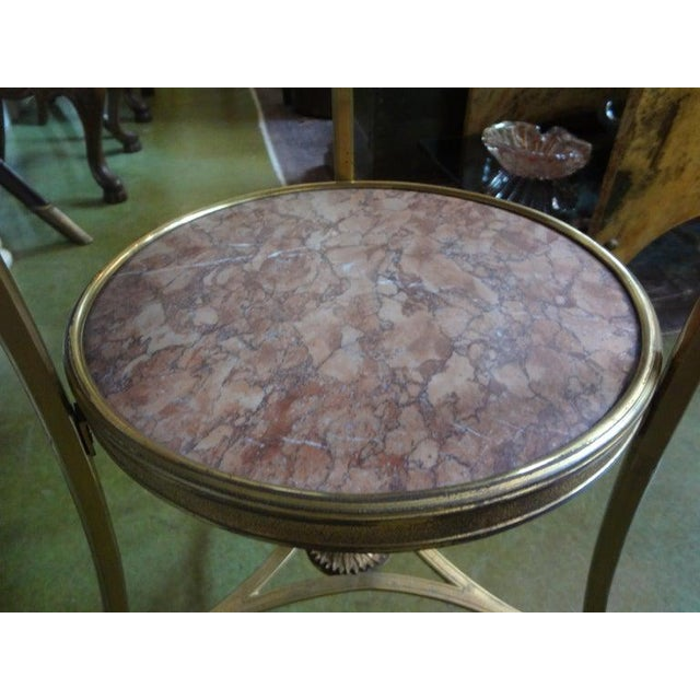 French French Louis XVI Style Two Tier Bronze Dore and Marble Gueridon For Sale - Image 3 of 13
