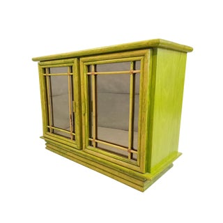 Vintage French Mid Century Green Exotic Tropicalia Pine and Bamboo Sideboard Credenza Buffet Rare Find For Sale