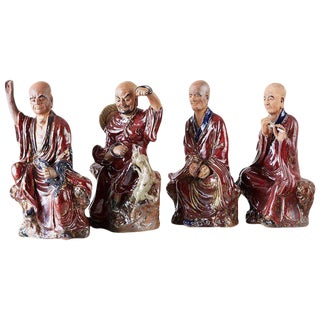Set of Four Chinese Shiwan Pottery Immortal Dieties For Sale