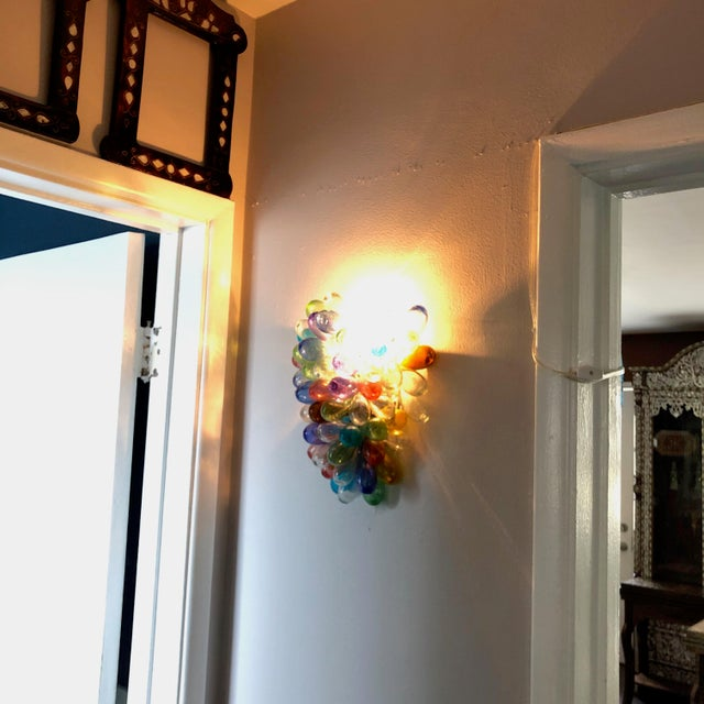Contemporary Colorful Wall Sconce Fixture of Recycle Hand Blown Glass For Sale - Image 3 of 11
