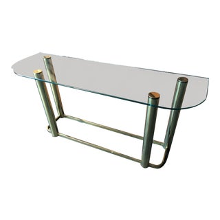 Brass and Glass Console Table in the Style of Pace