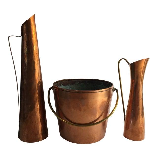 1970s Mid Century Modern Copper Vases Buckets Set Of 3 Chairish