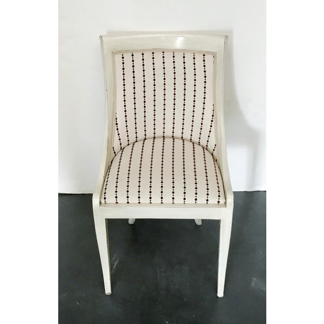 Classic style Italian chair with cream lacquered frame and cream colored upholstery with red dots / Made in Italy in the...