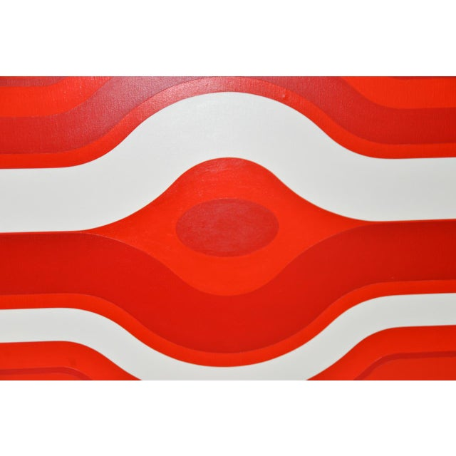 Mid 20th Century Vintage Red & White Op-Art Painting by Charles Hersey C.1970s For Sale - Image 5 of 8