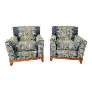 Pair of Custom Indigo Boho Club Chairs For Sale
