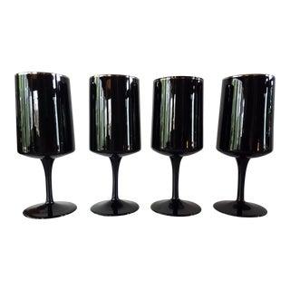 Vintage Lenox Venture Black Stem Glasses - Set of 4 For Sale