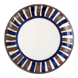 Mid Century Danish Modern Dansk Ceramic Bowl with Brown & Blue Stripes For Sale