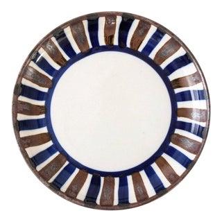 Mid Century Danish Modern Dansk Ceramic Bowl with Brown & Blue Stripes For Sale