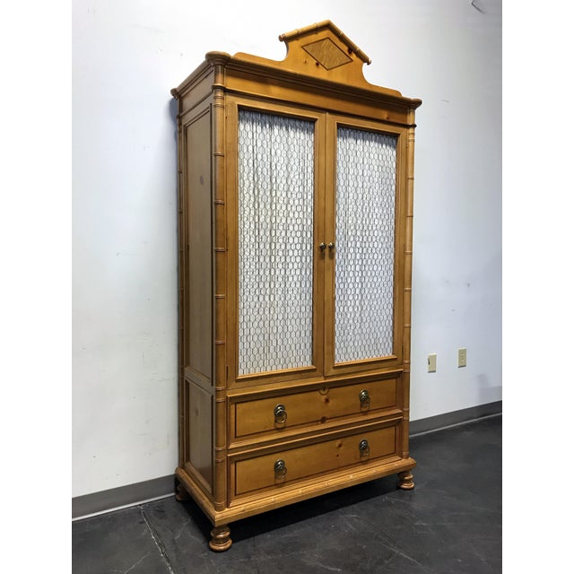 Baker Furniture Inlaid Pine Faux Bamboo Armoire W/ Wire Mesh Doors & Fitted Interior - Image 2 of 11