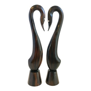 Mid-Century Rosewood Swans- a Pair For Sale