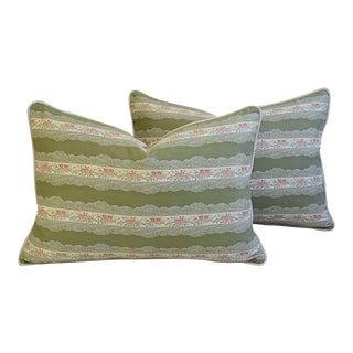 Custom Tailored Scalamandré Floral Lampas Feather/Down Pillows - Pair For Sale