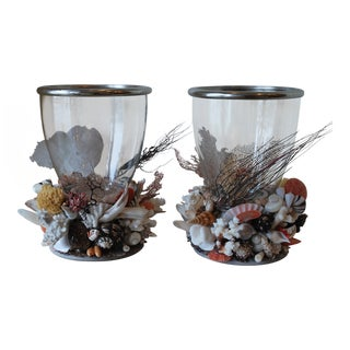Large Seashell Hurricane Lanterns - a Pair For Sale