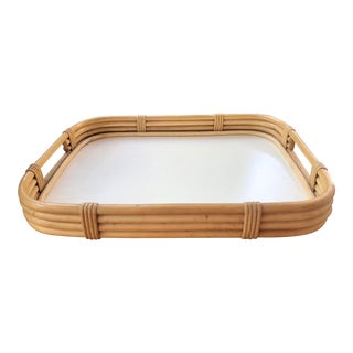 20th Century Boho Chic Natural Bamboo Rattan Bar Tray For Sale