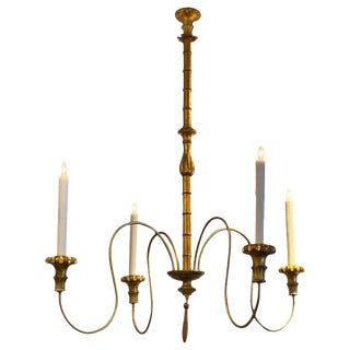 Large Scale Hollywood Regency Faux Bamboo Chandelier For Sale