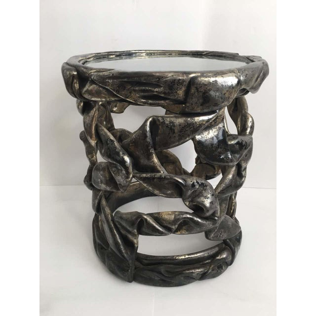 Delicious candy ribbon occasional side table in the Hollywood Regency style of Tony Duquette. Features original silver...