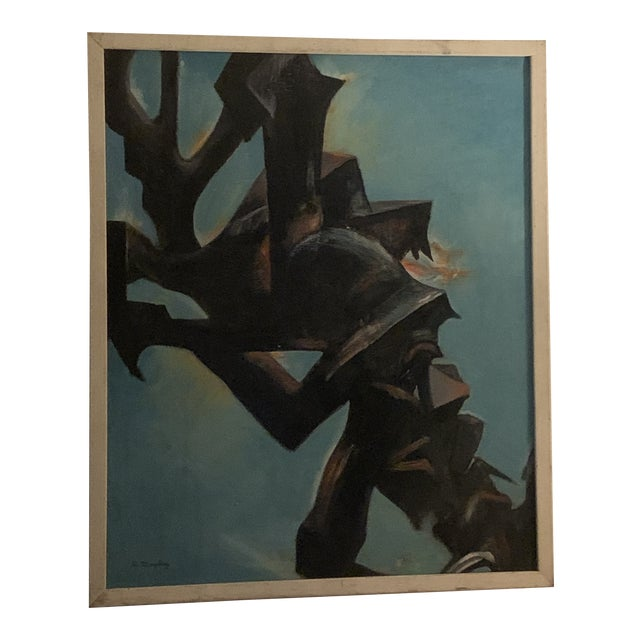 """1950s """"Hidden Victory"""" Modernist Abstract Painting, Framed For Sale"""